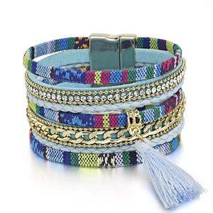 Jewelry - BOGO SALE Blue Tweed Striped Wrap Bracelet